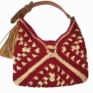 Franco Sarto Woven Red Tan Tassel Shoulder Bag